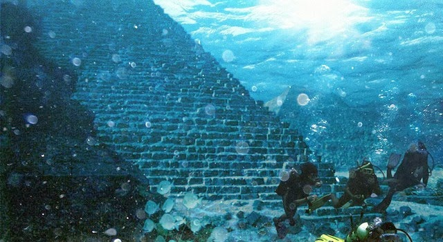 Artistic interpretation of the submerged pyramid near Portugal