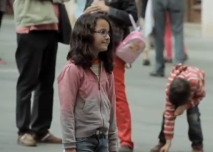 young girl sabadell bank flashmob