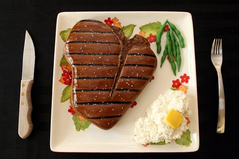 steak on a plate cake