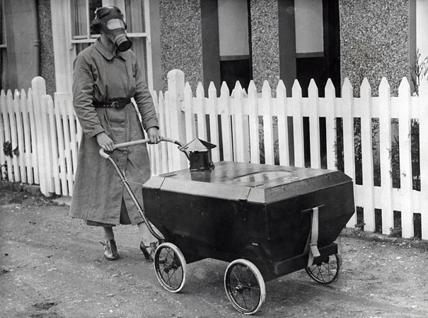 Woman With Gas Proof Pram 1938