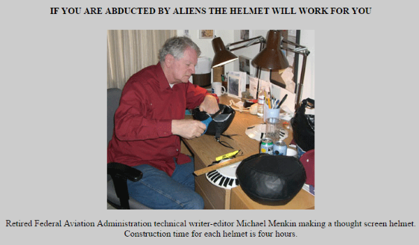 michael menkin thought screen helmet alien abduction prevention helmet 1